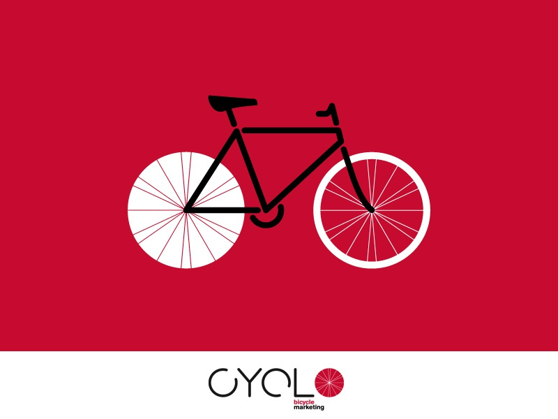 CYCLO cyclo bicycle marketing logo wheel spokes bike rounded type pantone 186