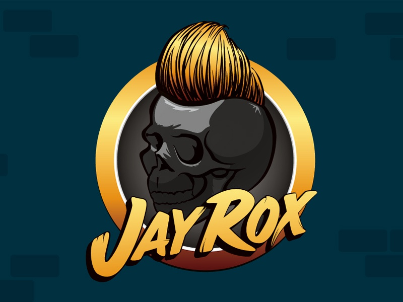 Jay Rox identity identity logo type illustration character skull pompadour mohawk dj producer