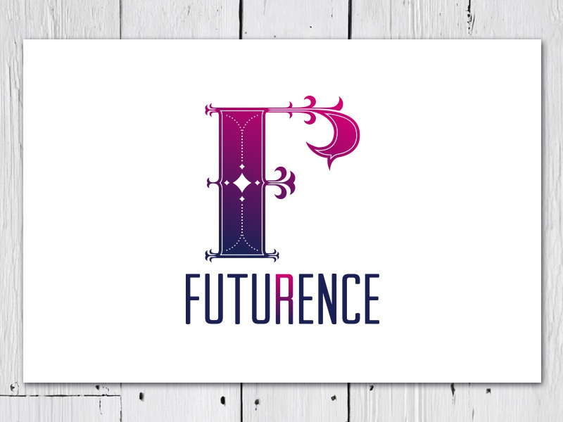 Futurence logo gradient futurence consulting future reference initial classic modern futuristic condensed typography drop cap