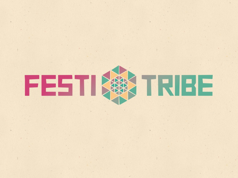 FestiTribe hexagon square festival sun cube mandala geometric logo festitribe