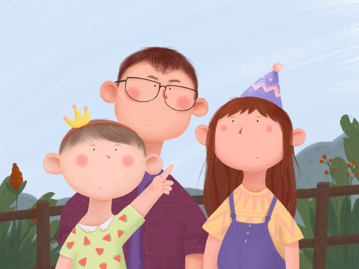 Cute family illustration page behance ux ui dribbbe travel holiday crown hat watermelon sky grass clothes lovely family