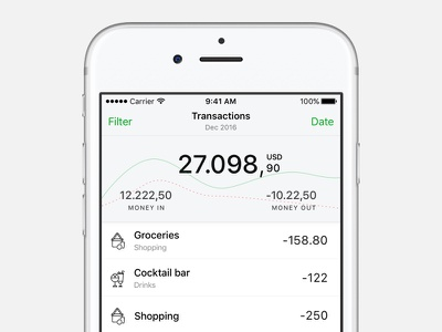 Expenses tracking app  💵 chart personal finance bank finance minimalism feed list transactions money ios expenses track