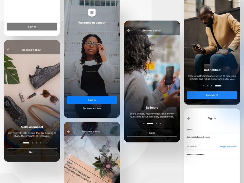 Scout introduction 👋 create account steps panels progression swipe research app store application app android ios sign up sign in mobile welcome onboarding introduction intro dscout scout