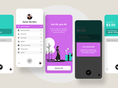 Refer a friend ✌🏼 gift present settings profile button reward mobile fintech chicago aeropay payments pay money finance rewards code referral friend a refer