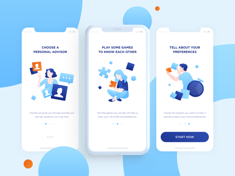 Onboarding for the Investing app clear uxd design investing finance fin tech ui illustration applicaiton onboarding app