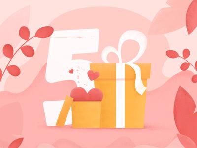 Birthday Illustration surprise invitation birthday gift texture 2d vector illustration