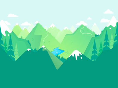 Landing Page Illustration environment art nature view trees sketch landing page river forest mountains vector exploration design illustration