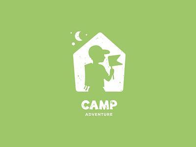 Camp Adventure Logo Concept tent silhouette kid flag adventure camping logo logo design branding