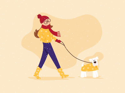 Winter Walk character vector art winter dog walk snow day 2d vector illustration graphic deisgn outdoors