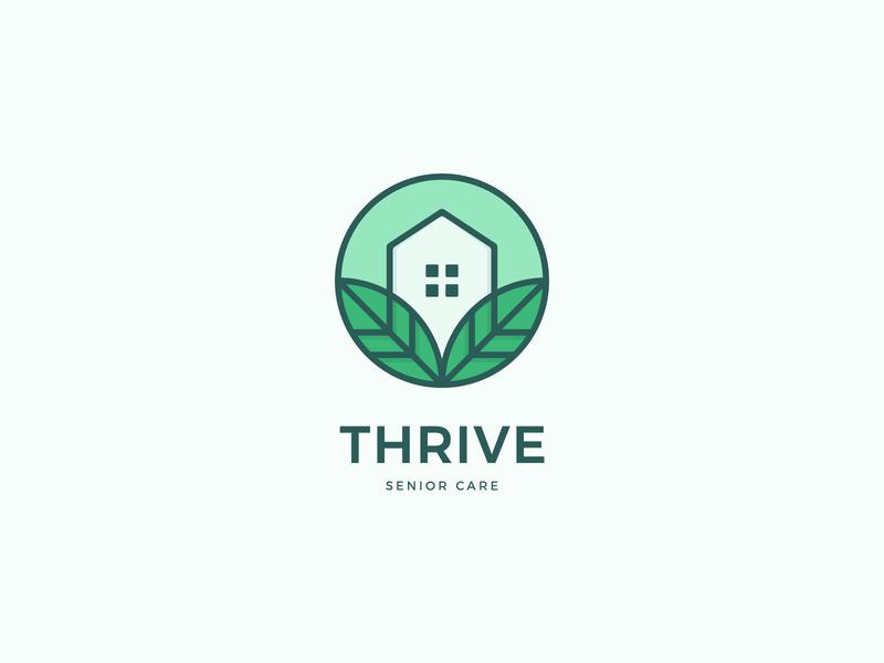 Logo concept for a home health organisation home organization health care thrive leaves house symbol exploration geometric geometric art brand logo design vector logo