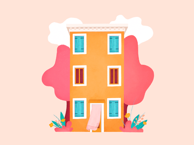 Burano colors tree landscape home cloud art italy burano nature house sketch drawing illustration
