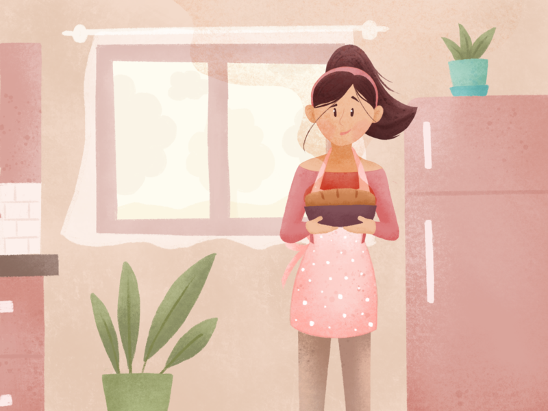 The Smell of Home art graphic  design design plants kitchen window texture home bread warm cute character sketch drawing illustration
