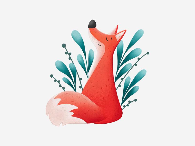 Peaceful Fox relax cute animal animals animal cute peaceful peace fox procreate drawing graphic design design illustration