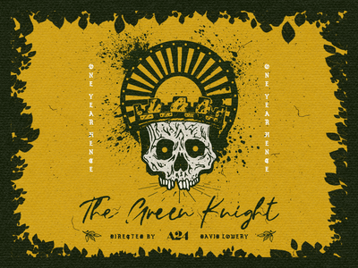 One Year Hence one year hence gold yellow green knight floral true grit texture supply skull procreate illustration blk market texture typography a24 the green knight movie poster poster design graphic design design