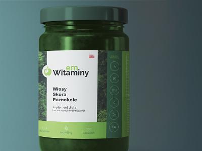 Bottle label #1 - emWitaminy apple line branding polska concept dtp vitamin vitamins nature simple flat label green emwitaminy supplement supplements bottle label