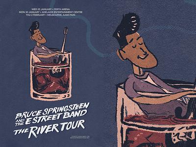 Poster #3 - Bruce Springsteen artist art event concert tour posters poland lockup river ice whiskey boy guitar band estreet retro illustration springsteen bruce poster