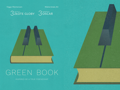 Poster - Green Book design poster concept greenbook poland true friendship paper structure creative books vector flat illustration movie oscar book green