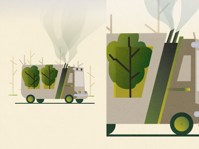 Poster - eco-truck die nature co2 smoke forest tree green poland vector illustration texture paper earth planet save poster ecology car truck eco