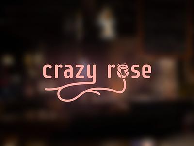 Crazy Rose - example logo design for american restaurant branding vector flat line plant pink rose typography typo logo cuisine restaurant american design logo
