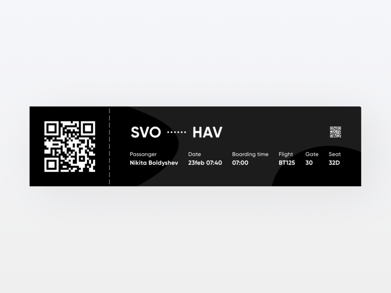 Boarding Pass 024 airport ticket boarding pass design ux ui minimal daily ui