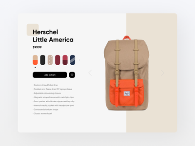 Customize Product product design backpack product page customize product product web design web design ux ui minimal daily ui