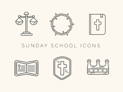 Sunday School Icon Set sunday school icons icon shield thorns church bible