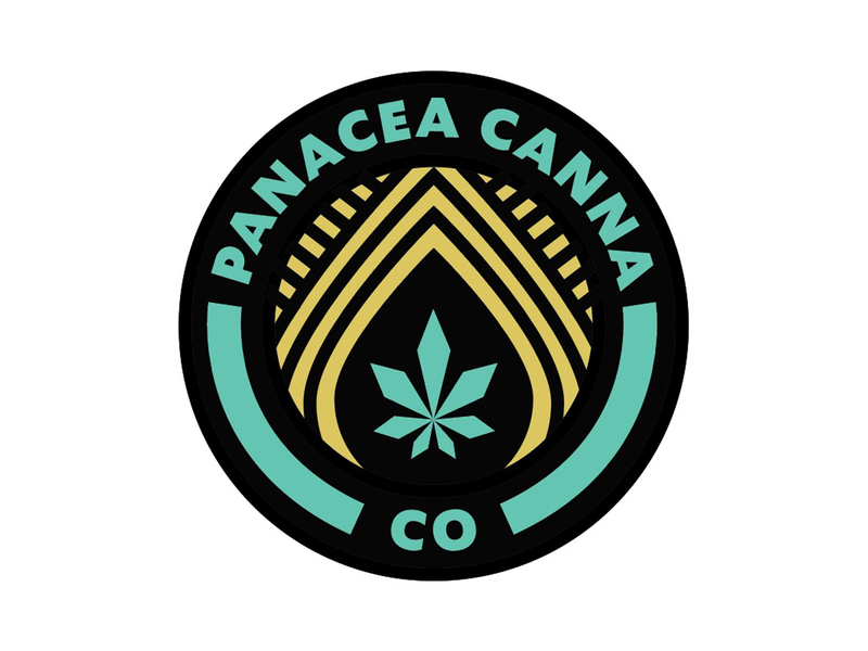 Panacea Canna Seal and Sticker typography concept badge illustrator icon flat vector logo design branding