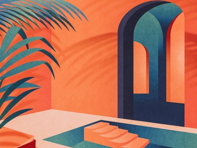 Oasis shadows depth color palette texture gradient colorful colors color tropical design illustrator graphic design vector illustration