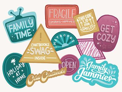 Holiday Packaging Stickers packaging color lettering sticker design stickers branding handletter design illustrator graphic design vector illustration