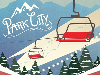 Park City graphic design utah park city vector poster hand-lettering illustration