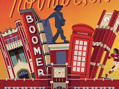 Boomer Sooner graphic design sooner boomer oklahoma university school vector handletter handtype illustration