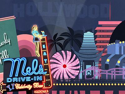 Los Angeles graphic design hollywood losangeles california vector handletter handtype illustration