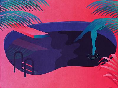 Pool Hangs vector illustrator tropical summer gradient retro illustration