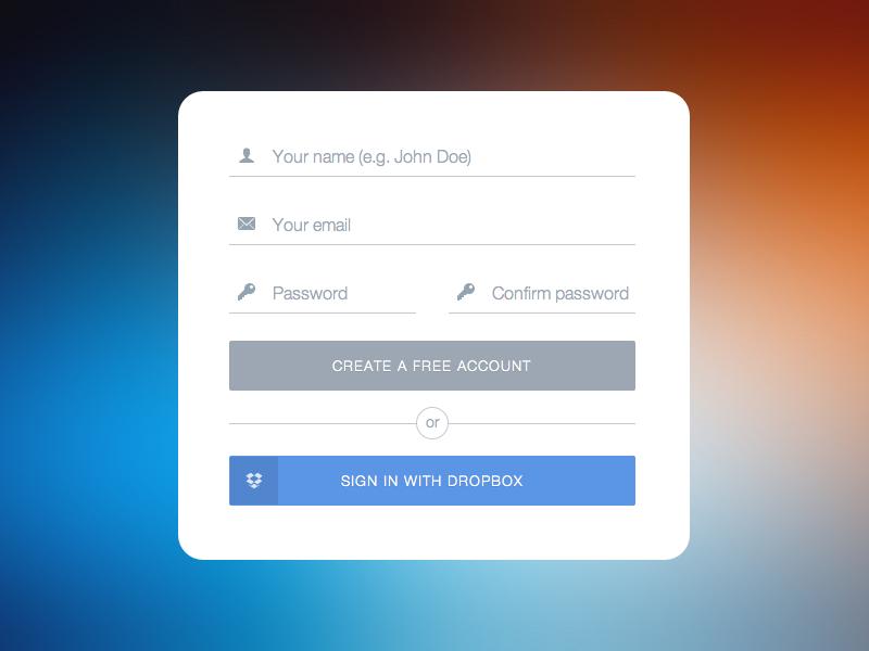 Flat UI Signup Form sketch clean flat ui flat design sign up form sign up sign in dropbox button flat button input