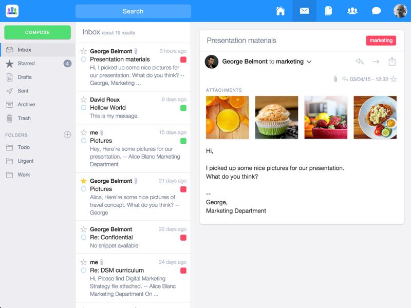 Inbox UI View ui ux email message drive files app web clean flat ui sketch