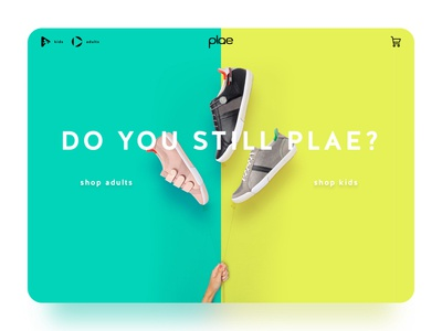 Plae landing page homepage page landing desktop website color bright ecommerce fashion sneakers shoes
