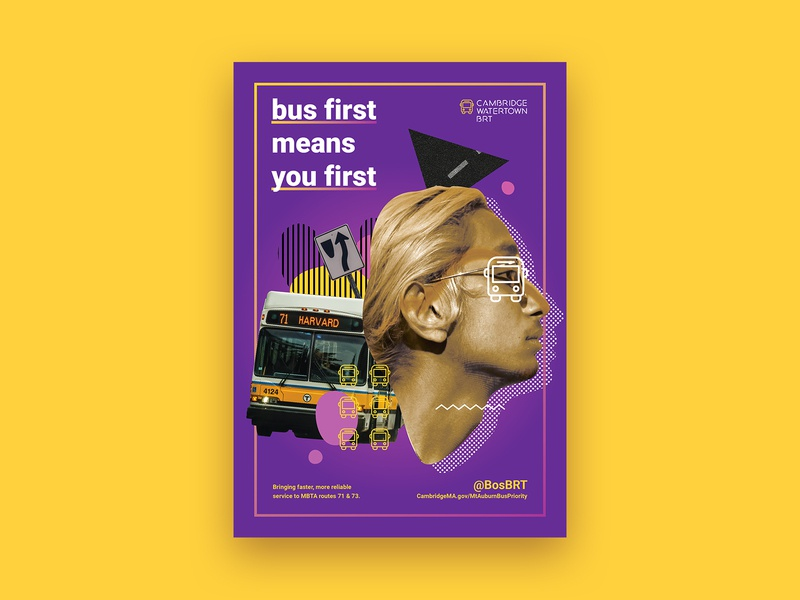Bus first means you first collage color public transit public transportation bus ad graphic design poster