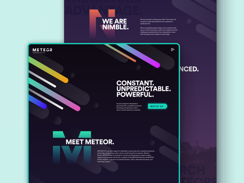 Meteor Homepage Exploration space dark desktop about homepage web  design color gradient branding