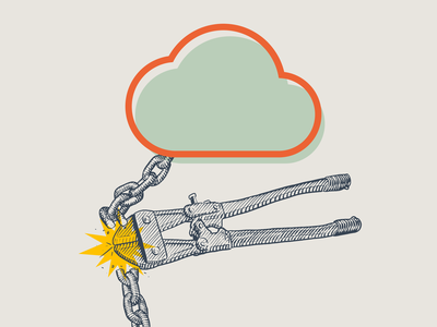 Unchained drawing illustration boltcutters chain cloud editorial illustration