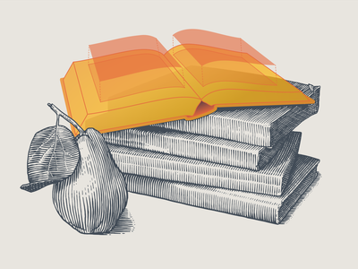 [Your narrative here] subtle update stilllife fruit pear narrative product design books photoshop scratchboard illustrator engraving drawing etching illustration