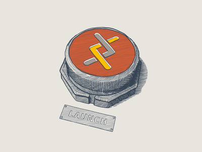 Launch scratchboard drawing illustration button