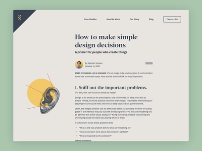 How to Make Simple Design Decisions illustration website blog article blogpost ear
