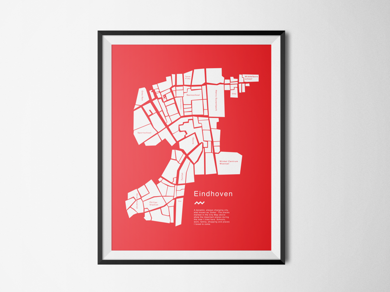 Personal City Map concept poster minimal custom eindhoven map
