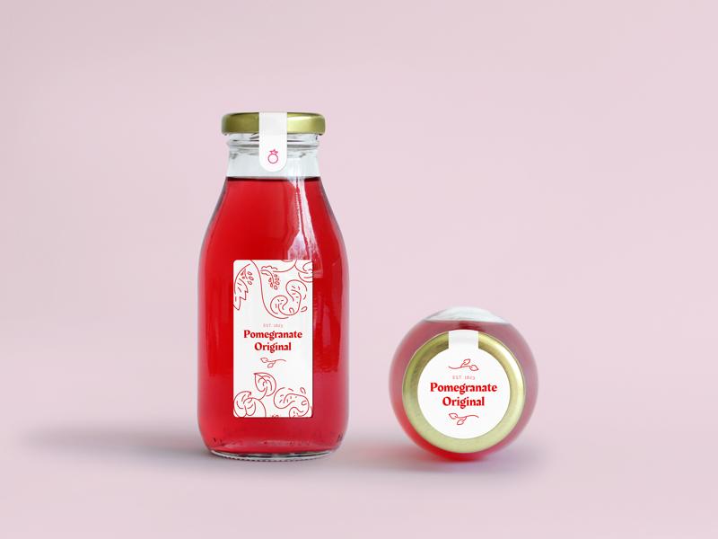 Pomegranate label design product label illustration