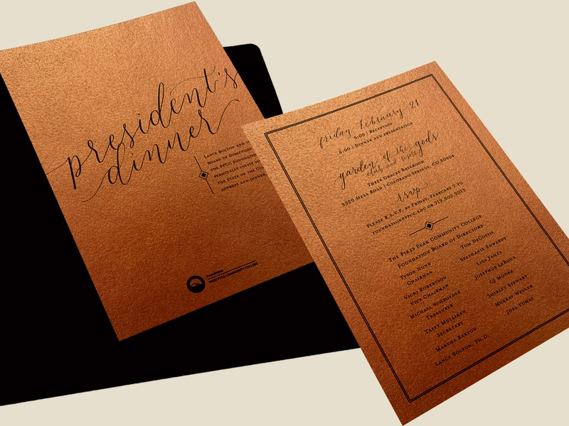 2020 President's Dinner Invitation event design event marketing event invite invite typography illustration calligraphy lettering hand lettering graphic design invitation design invitation suite