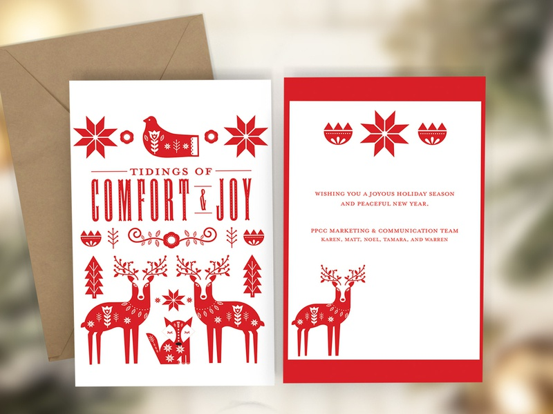 2019 Pikes Peak Community College Holiday Card christmas card print design graphic design illustrator scandinavian illustration scandinavian style illustration holiday cards christmas holiday card greeting card