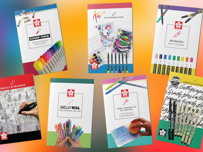 Sakura of America B2B Brochures typography typesetting layoutdesign business to business b2b trifold print design graphic design gellyroll pens markers sakura marketing collateral brochures brochure marketing