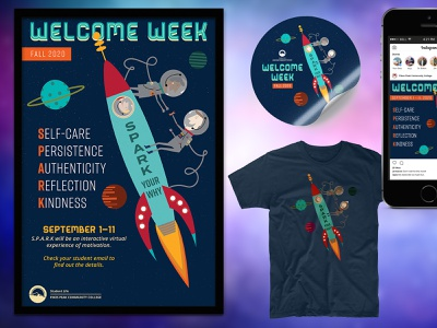 Welcome Week Campaign astronaut outer space mid century modern vintage retro space collateral design marketing collateral higher education college university print design illustration graphic design