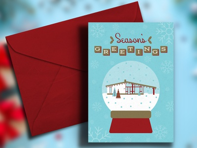 2020 Department Holiday Card illustrations illustration holidays vintage retro 1950s blue red typography mid century christmas cards christmas design holiday design christmas card holiday card holiday mid mod mid century modern