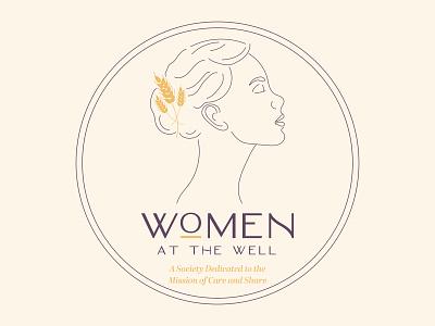 Women at the Well Logo Design gold woman illustration woman food wheat feminine women purple logodesigner logotype logomark branding logo design branding logodesign logo